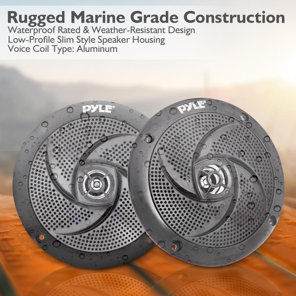 5.25 Inch Low Profile Slim Style Waterproof Wakeboard ... Pyle Marine Speakers