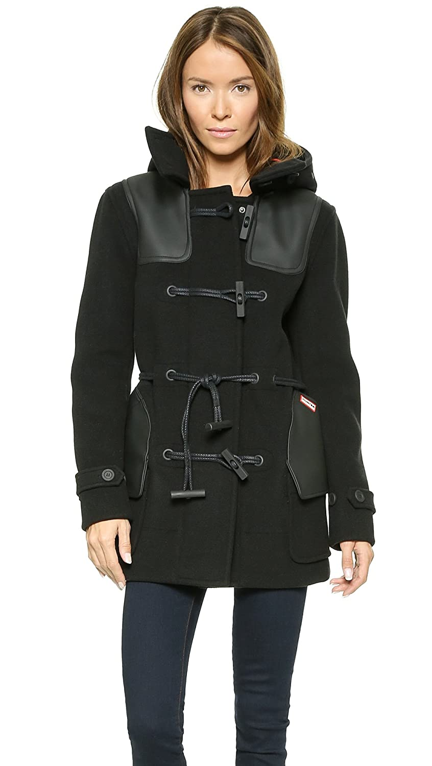 good HUNTER Jet Black Hooded Duffle Coat - ablenepal.com