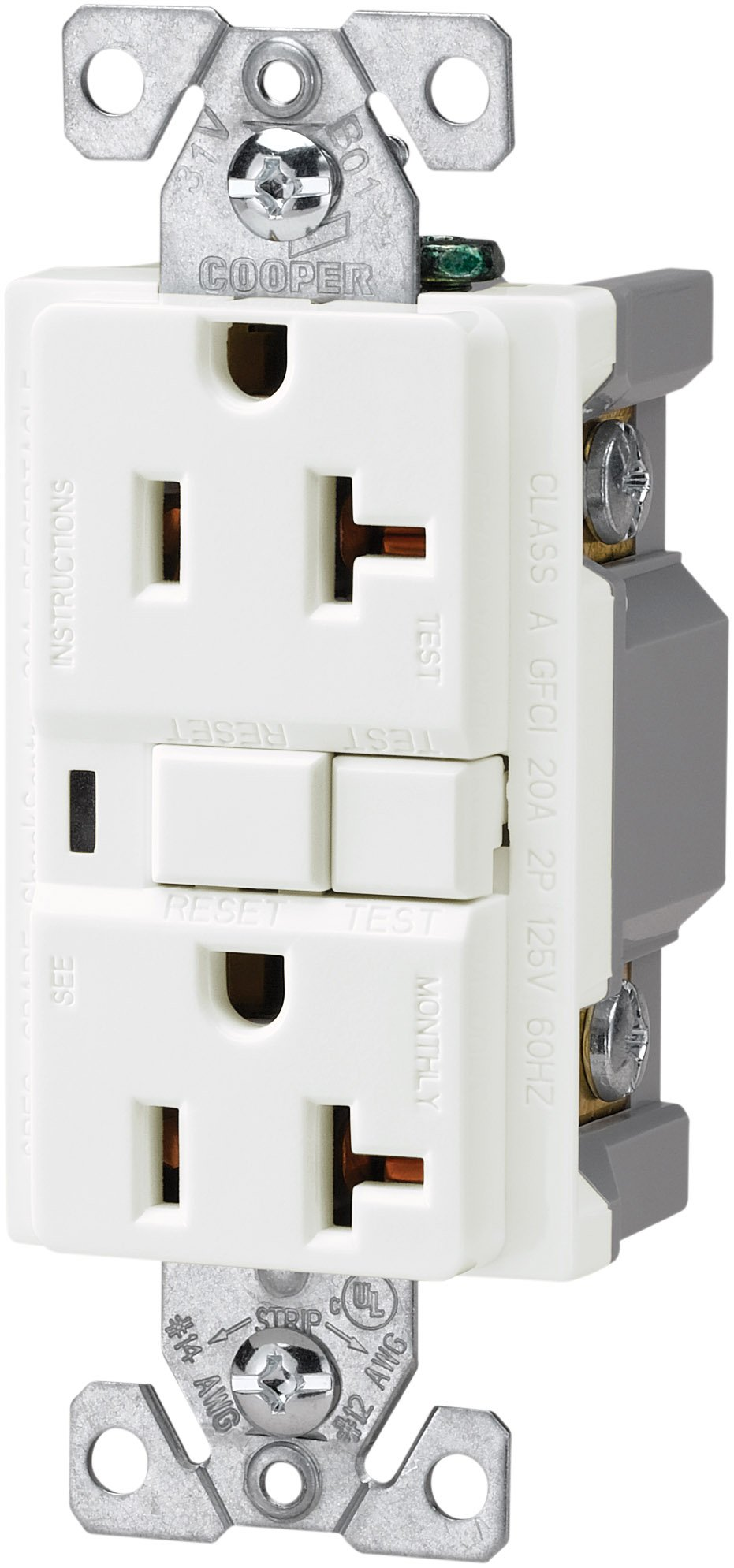 The Eaton VGF20W 20-Amp 2-Pole 3-Wire 125-Volt Duplex Ground Fault Circuit Interrupter, White