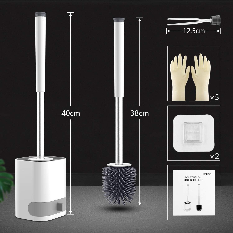 Cepillo y Soporte para Inodoro WOWGO Escobillas de Inodoro de Silicona,Hangable Kit de Cepillo para Inodoro con Guantes Desechables y Pinzas