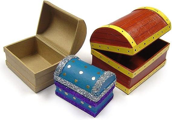 Juego de 3 cofres del tesoro caja de papel maché Mini Decoupage decoración Craft: Amazon.es: Hogar