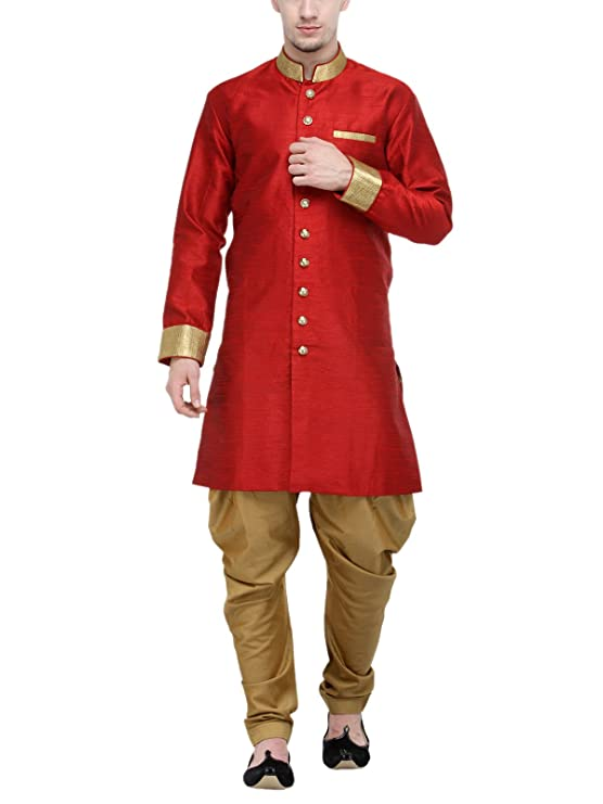 RG Designers Red And Gold Plain Sherwani For Men Men's Sherwani at amazon