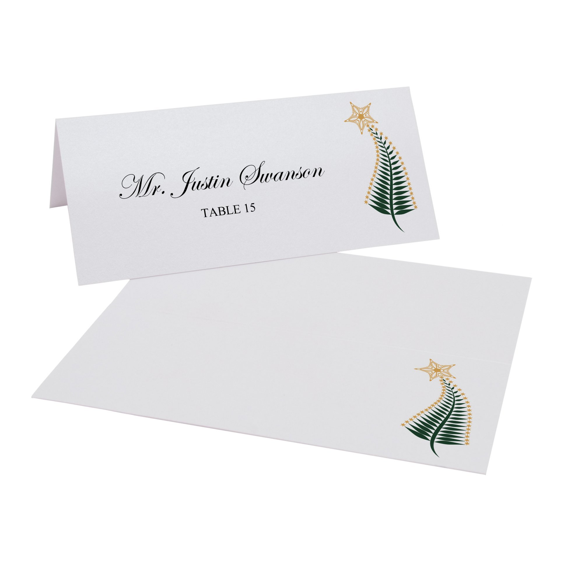 Christmas Tree Flourish Place Cards, Pearl White, Set of 375 by Documents and Designs