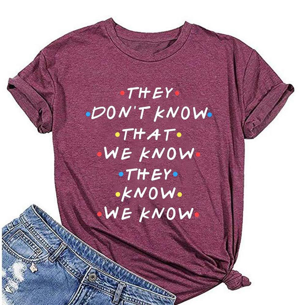 ویکالا · خرید  اصل اورجینال · خرید از آمازون · They Don't Know That We Know They Know T Shirt Friends Shirt Women Short Sleeve Casual Letter Print Top Tee Size L (Red) wekala · ویکالا