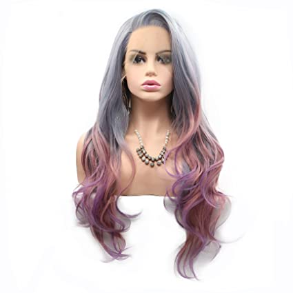 Peluca de pelo natural de sirena colorida resistente al calor, de encaje sintético para mujeres