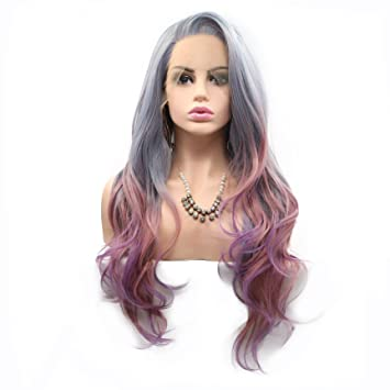 Amazoncom Side Part Long Hair Blue Green Gray Purple Pink Mixed