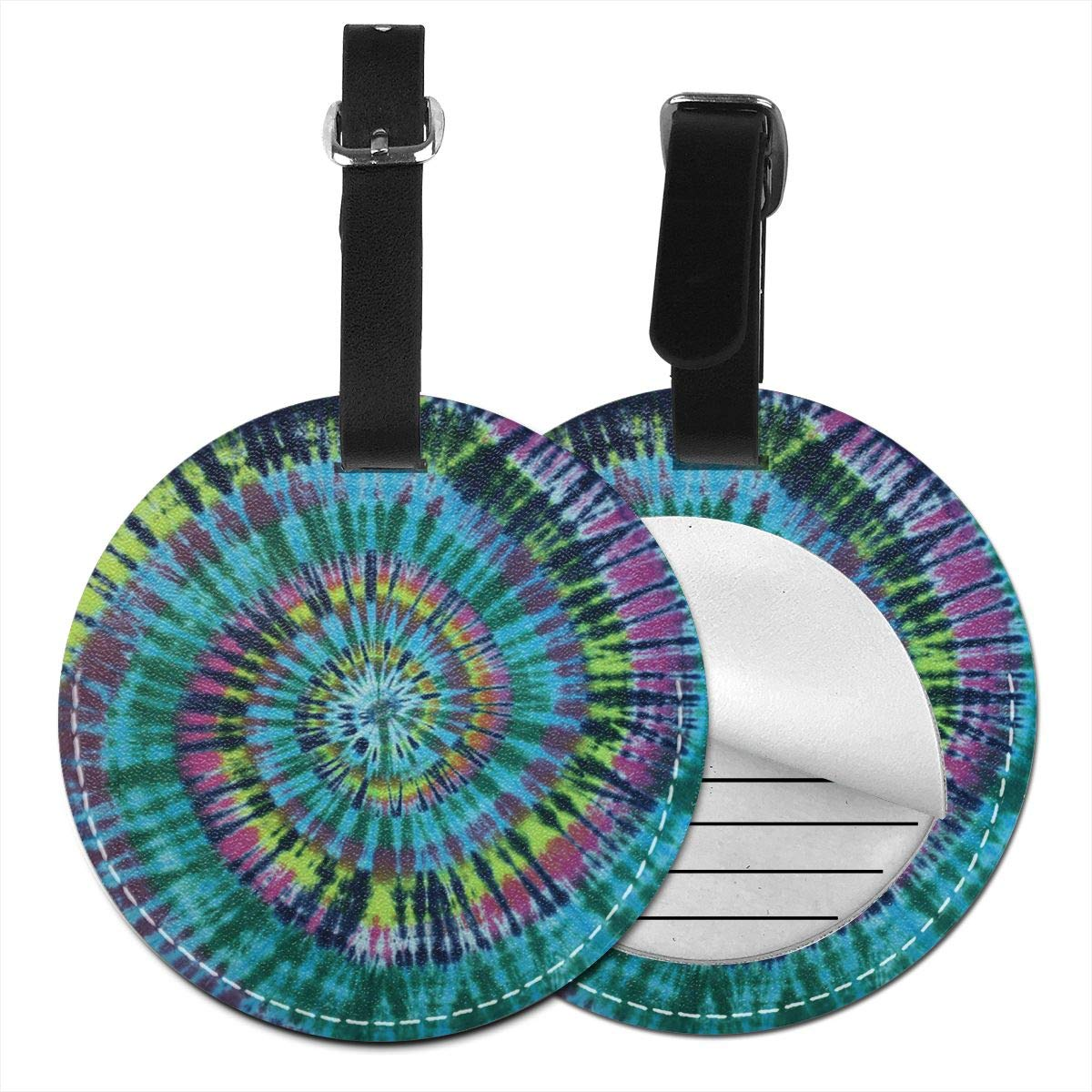 Free-2 Magic River Handcrafted Tie Dye Luggage Tag 3D Print Leather Travel Bag ID Card