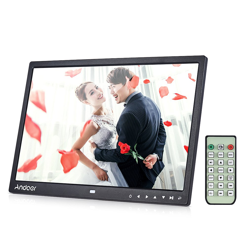Digital Picture Frame, Andoer 13 inch LED Digital Photo Frame 1080P HD Resolution Desktop Display Image MP4 Video Support Auto Play with Infrared Remote Control/ 7 Touch Key by Andoer