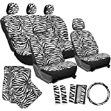 OxGord 21pc Zebra Car Seat Cover, Carpet Floor Mat, Steering Wheel Cover, Shoulder Pad Set - Universal Fit, Truck, SUV, or Van - Snow White
