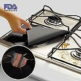 "Kiartten Gas Range Protectors Prime - Black Stovetop Burner Protector Liner Cover - Size 10.6"" x 10.6"" - Reusable, Non-Stick, Dishwasher Safe, Easy to Clean - FDA Approved (4 Pack)"