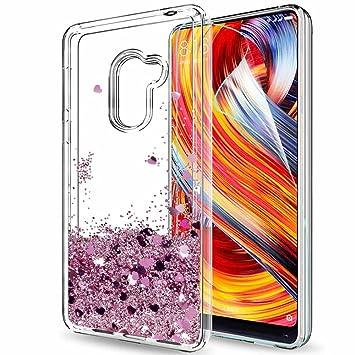 LeYi Funda Xiaomi Mi Mix 2 Silicona Purpurina Carcasa con HD Protectores de Pantalla, Transparente Cristal Bumper Telefono Gel TPU Fundas Case Cover ...