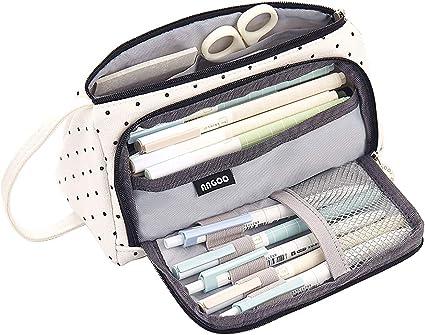 iSuperb Multifuncional Estuche de lápices Gran Capacidad Estuche Escolar Lona Bolsa Para Lapices Chicas Chicos Estudiante Plumier Lápices Bolsa Pencil Case (Punto redondo): Amazon.es: Oficina y papelería