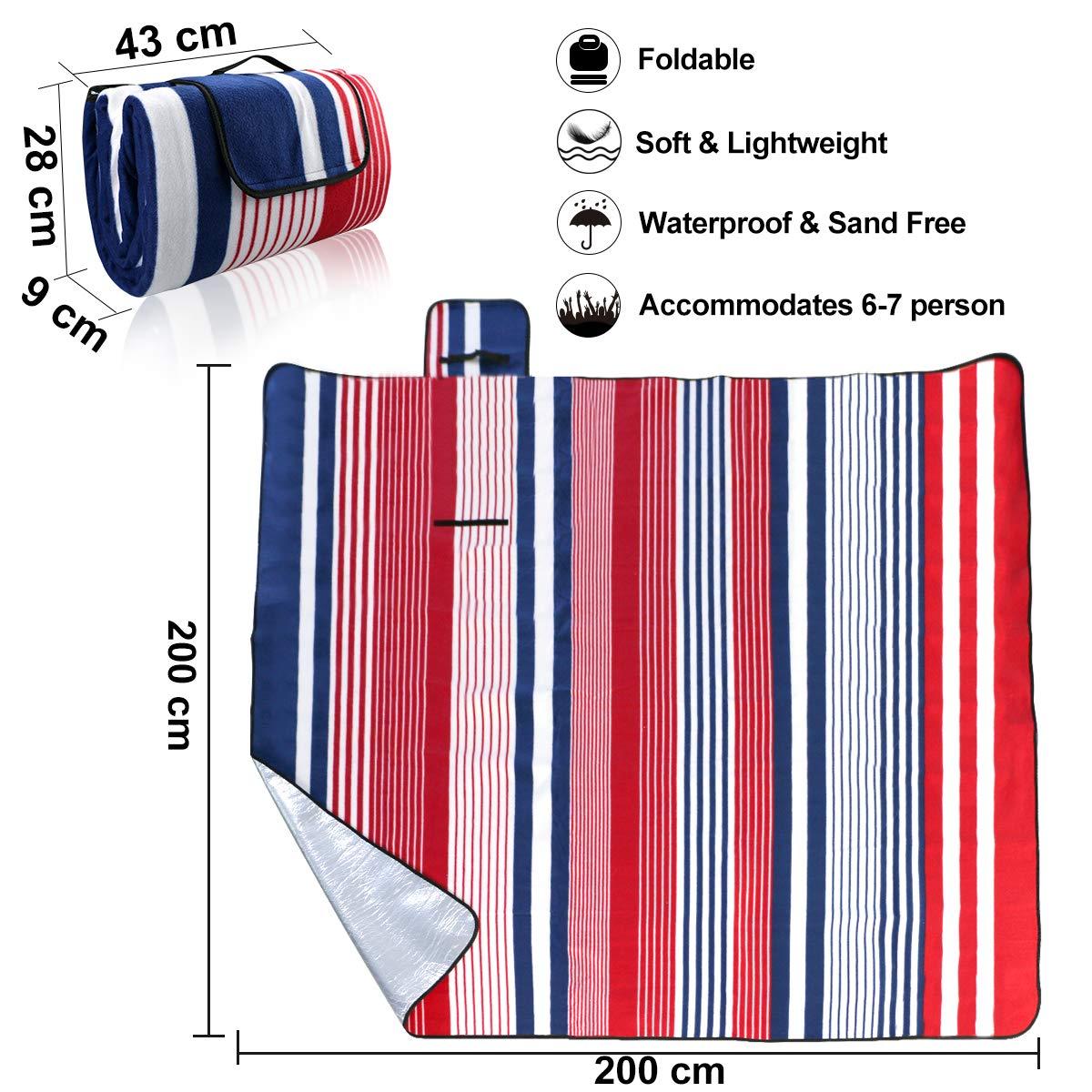 200 X 200 cm Portatile Tappeto da campeggio con manico per Pic-nic Beach Campeggio Allaperto a strisce Weeygo Impermeabile Coperta da Picnic