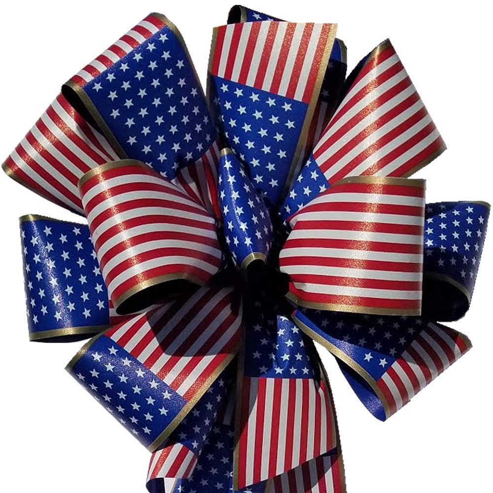 Symbol of Support for our Essential Workers 6 Pack Patriotic Flag Bows 10x 26 Handmade with 2.5 Ribbon for Indoor Outdoor Decoration Fluffy Not Flat