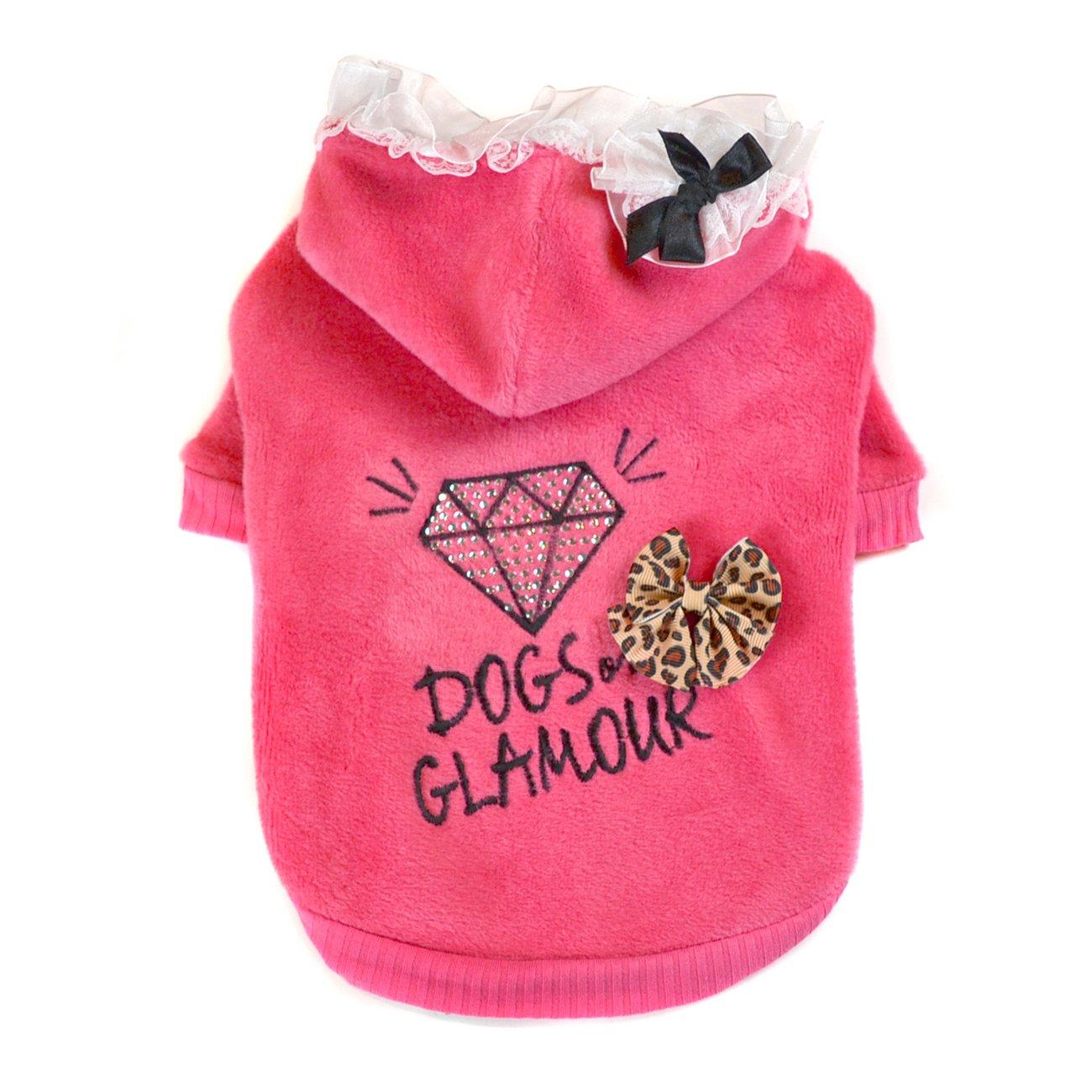 Medium Dogs of Glamour Girly Diamond Hoodie, Medium, Pink