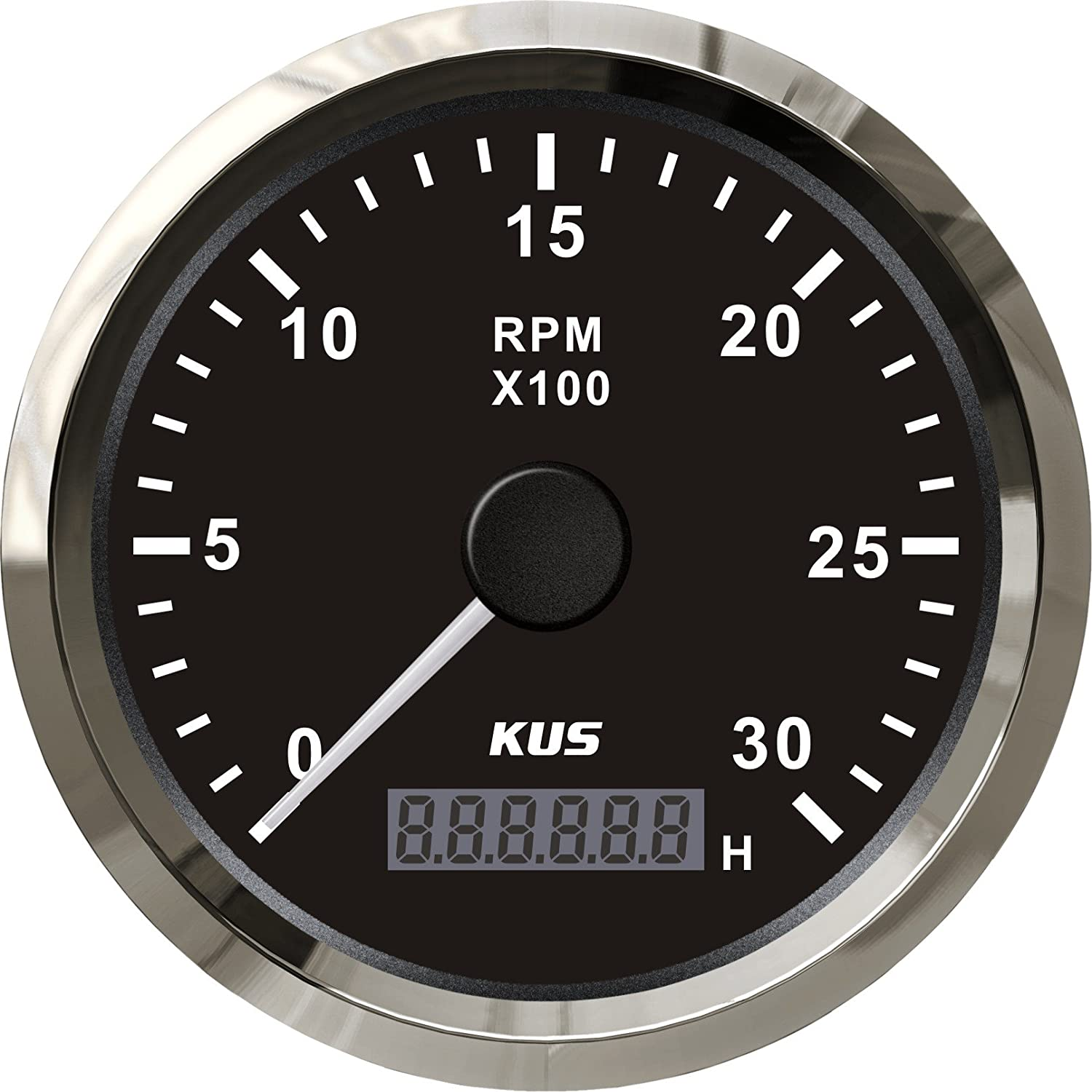 KUS Waterproof Tachometer REV Counter RPM Gauge with Hour Meter 3000RPM 85mm 12V//24V with Backlight