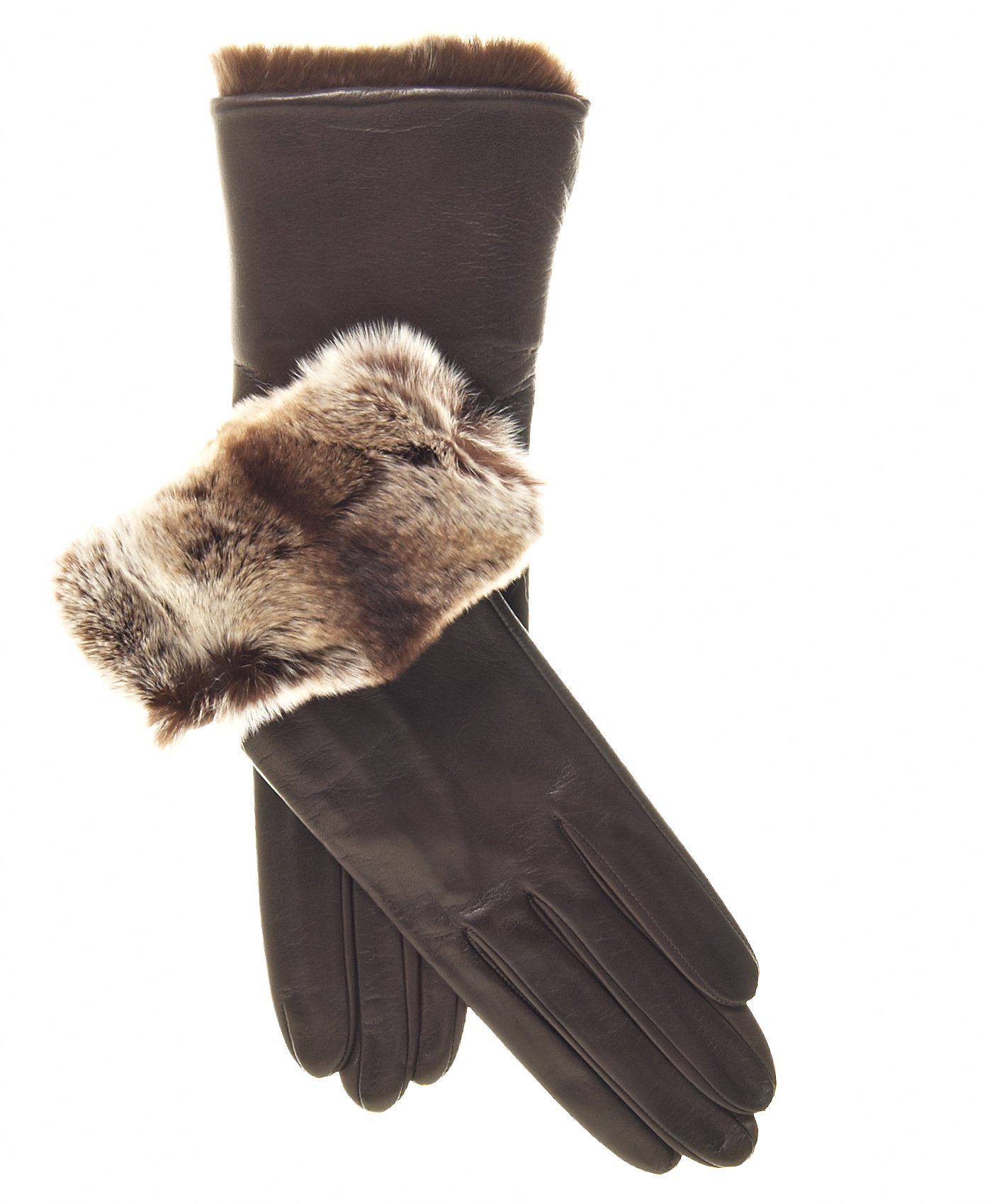 Fratelli Orsini Women's Orylag Rabbit Fur Cuff Cashmere Lined Leather Gloves Size 7 1/2 Color Brown by Fratelli Orsini (Image #5)