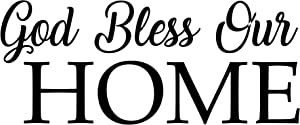 """God Bless Our Home Wall Sticker Removable Vinyl Decal Decor - 12"""" Black Sign"""