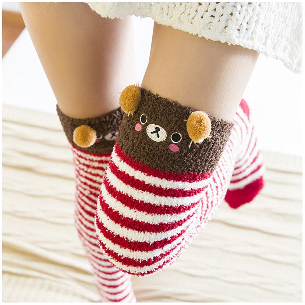 Girl's Leg Warmers Soft Warm Animal Coral Fleece Thigh High Long Striped Socks, Best Christmas Gift (Brown Bear)