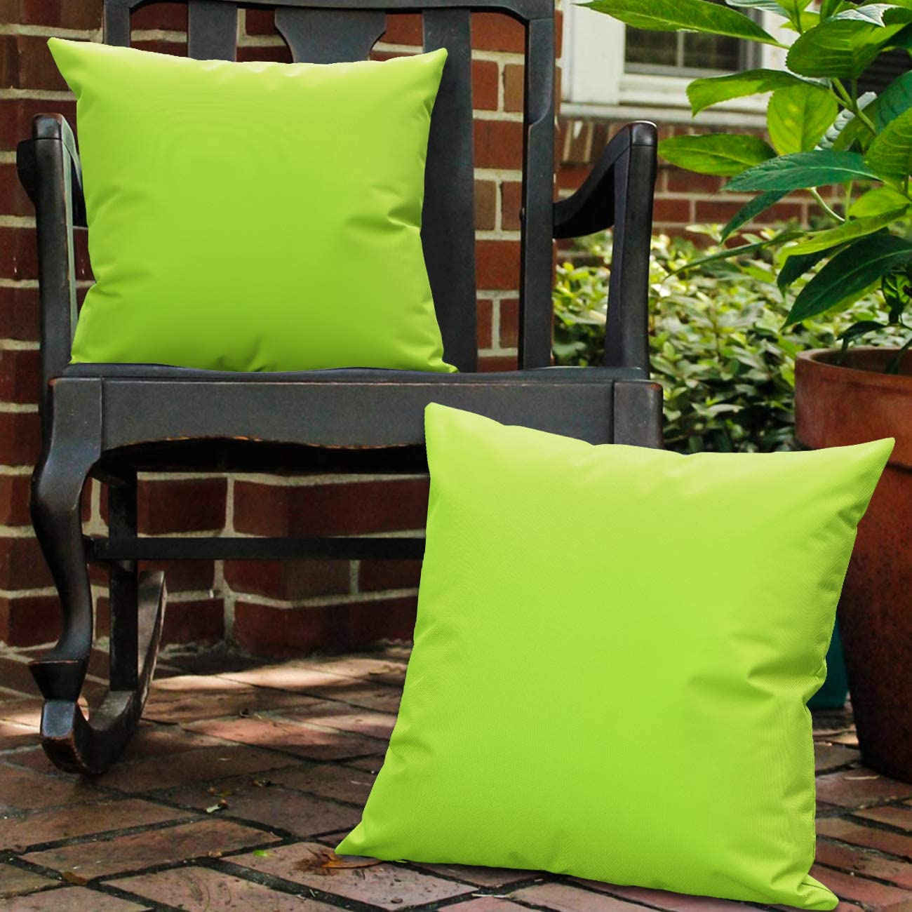 """Lewondr Waterproof Outdoor Throw Pillow Cover, 2 Pack Solid PU Coating Throw Pillow Case UV Protection Garden Cushion Cover for Patio Sofa Couch Balcony 18""""x18""""(45x45cm) - Fluorescent Green"""