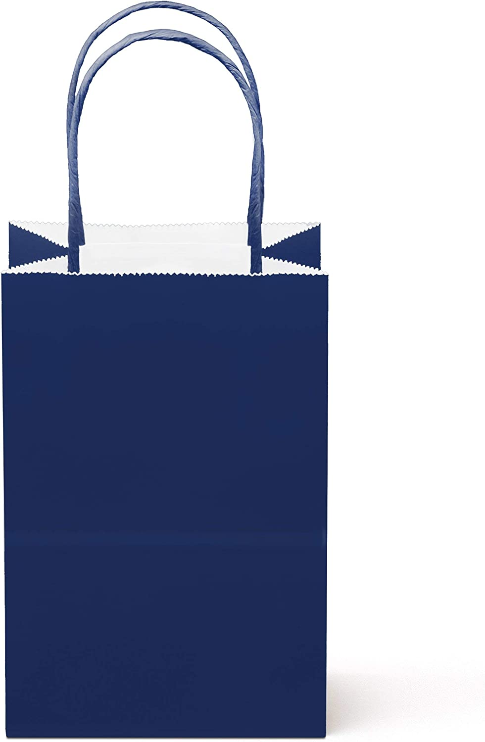 """12 Counts Food Safe Premium Paper and Ink Small 8.5"""" X 5.25"""", Vivid Colored Kraft Bag with Colored Sturdy Handle, Perfect for Goodie Favor DIY Bag, Environmentally Safe (Small, Navy)"""