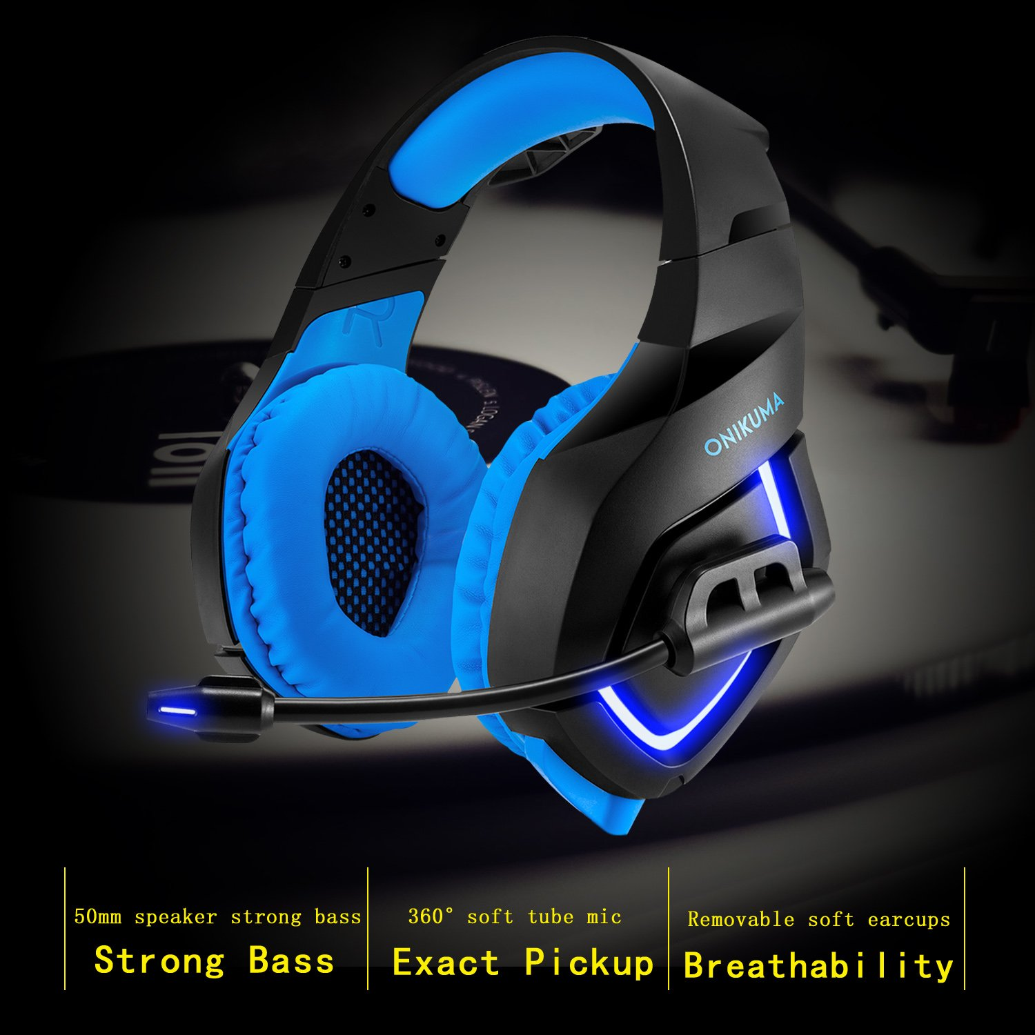 ZaKitane LED Light Gaming Headset PS4 MIC,3.5mm Over-Ear Headphone Earphone for X box One s Game Headsets Volume Control,Comfortable Stereo Bass Noise Cancelling USB Gamer PC Laptop Headphones