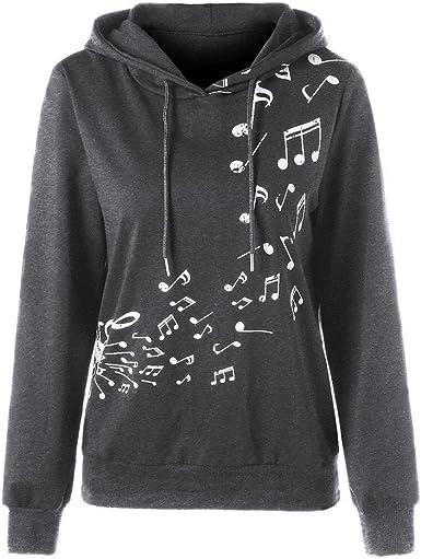 DOGZI Mujer Camiseta Mujer Manga Larga Estampado Capucha Nota Musical Impresa Camisa de Entrenamiento Saltador Pull-Over Blusa Encapuchado suéter ...
