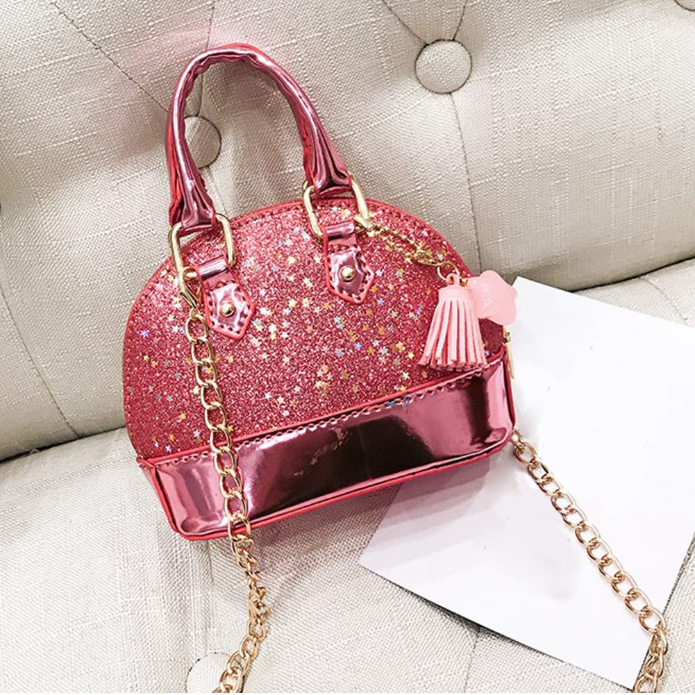 Little Girls Mini Dome Satchel Crossbody Bag Shell Shape Purse Handbags for Toddler Kids Tote(Pink) Woopower