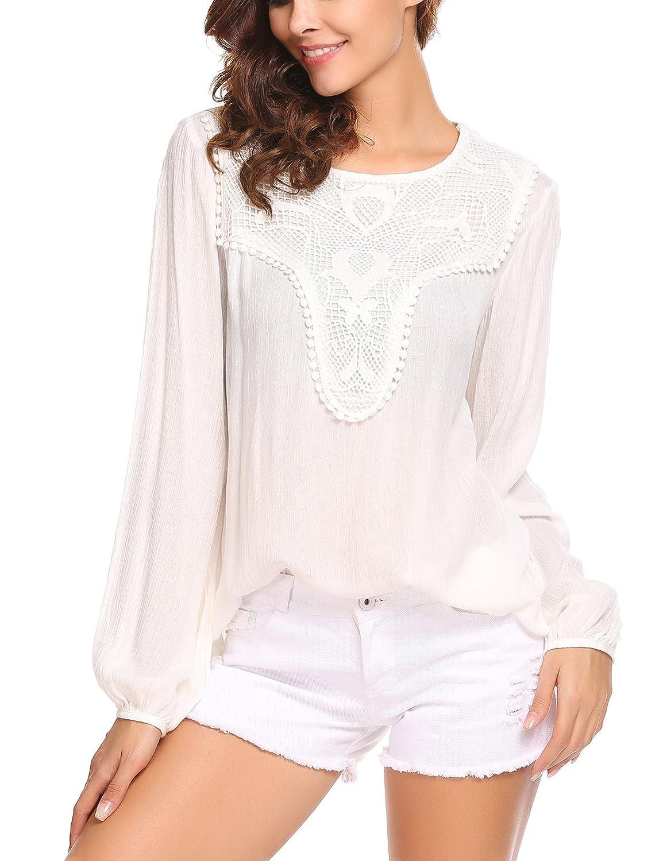 Damen Langarm Bluse Shirt Schmetterling Oberteile Tops Pullover Tunika Boho