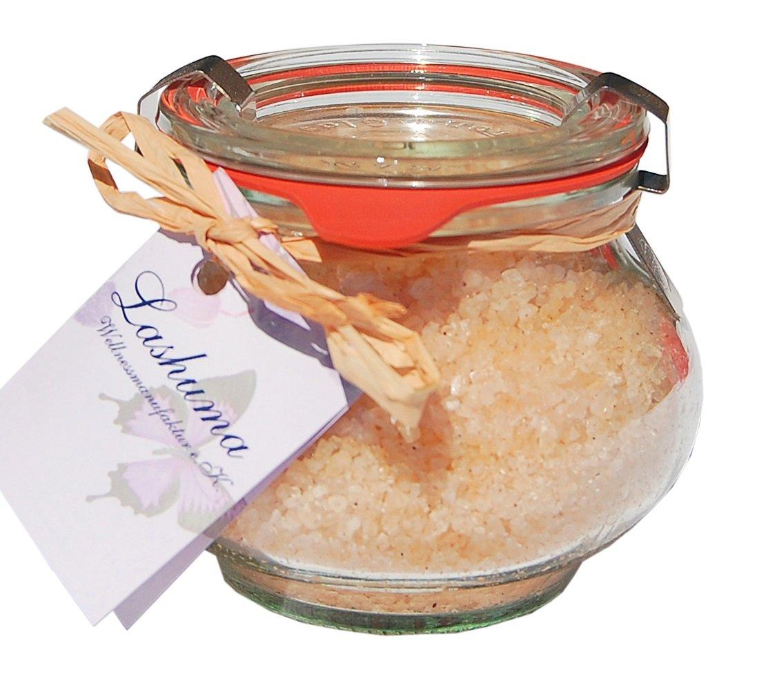 Wellness Badesalz Totes Meer Pfirsich im Glas, Badezusatz im Weck Schmuckglas 250 g