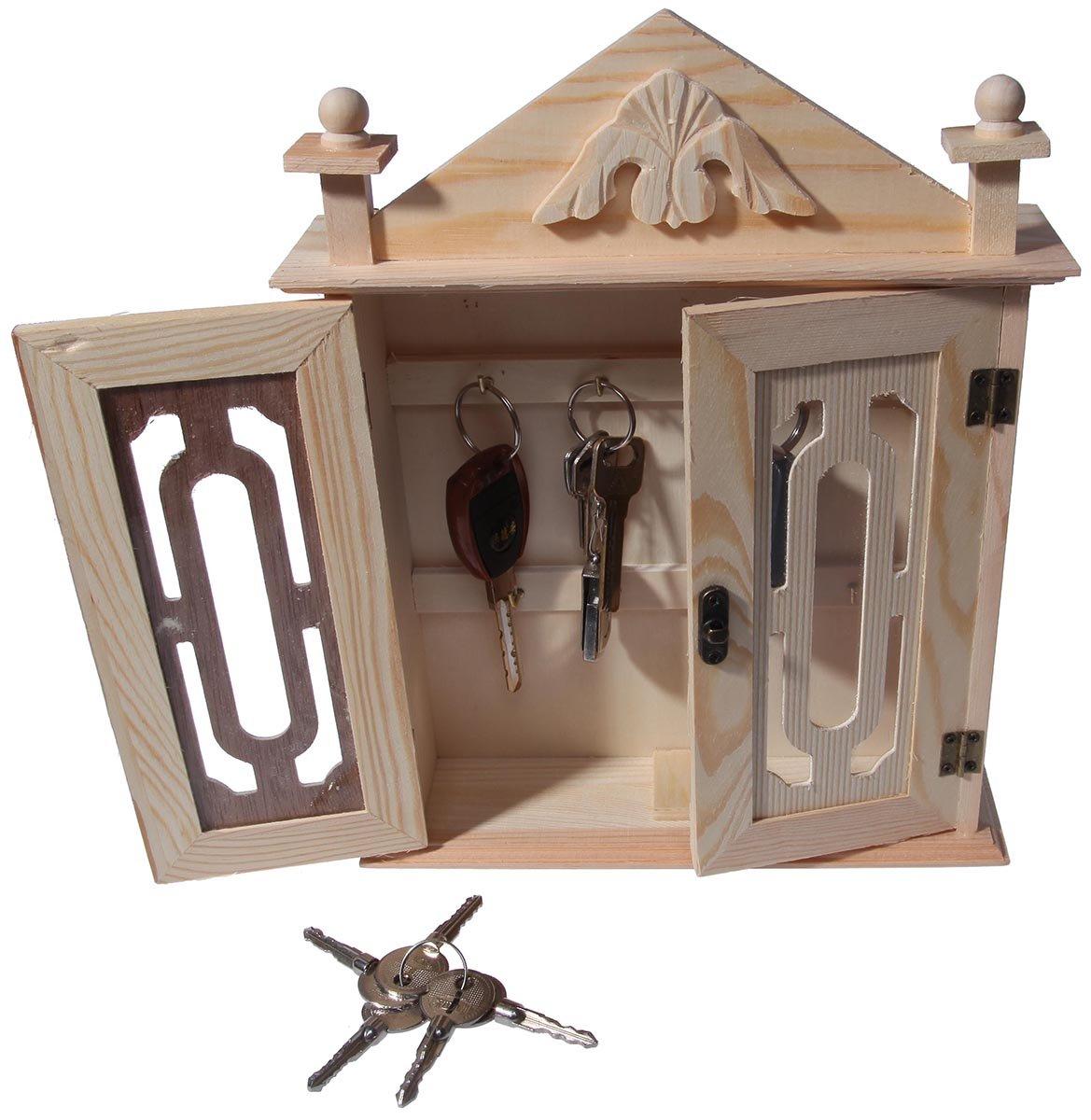 Juvale Key Organizer//Key Cabinet 11 Inches Natural Wood Key Storage Cabinet