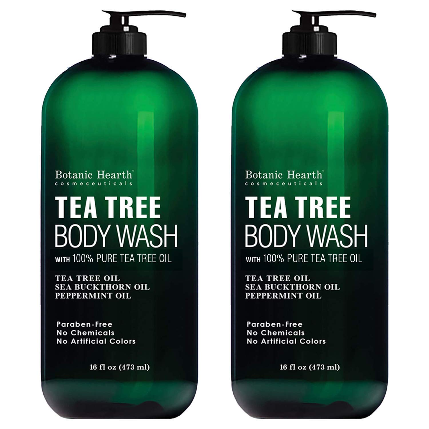 BOTANIC HEARTH Tea Tree Body Wash, Helps Nail Fungus, Athletes Foot, Ringworms, Jock Itch, Acne, Eczema & Body Odor, Soothes Itching & Promotes Healthy Skin and Feet, Naturally Scented, 16fl oz 2 Pack by Botanic Hearth