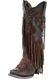 43dbc752b3 Amazon.com | Corral Women's Honey Crystal Pattern Fringe Boot | Mid-Calf