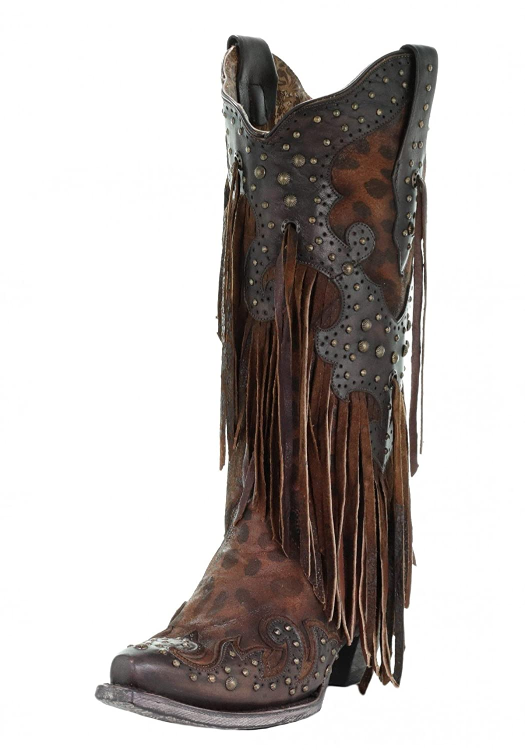 CORRAL A3618 Brown Leopard Fringe and Studs Boots B07CQQMWQC 7.5 B(M) US