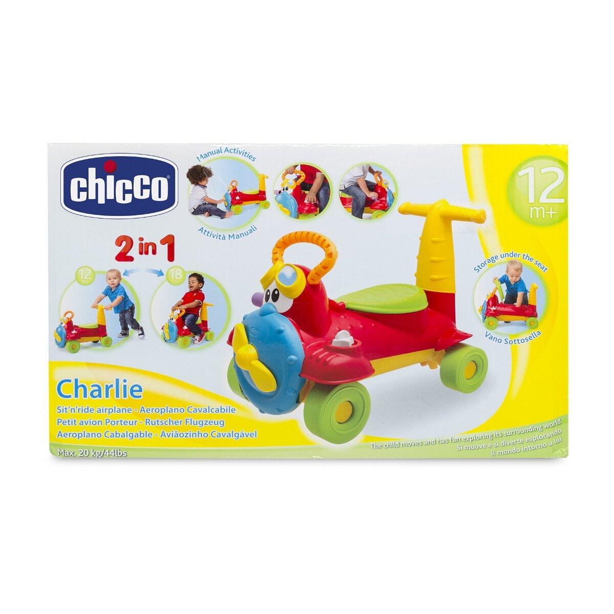 Correpasillos cabalgable y andador Charlie Aeroplano con forma de avi/ón 2 en 1 Chicco