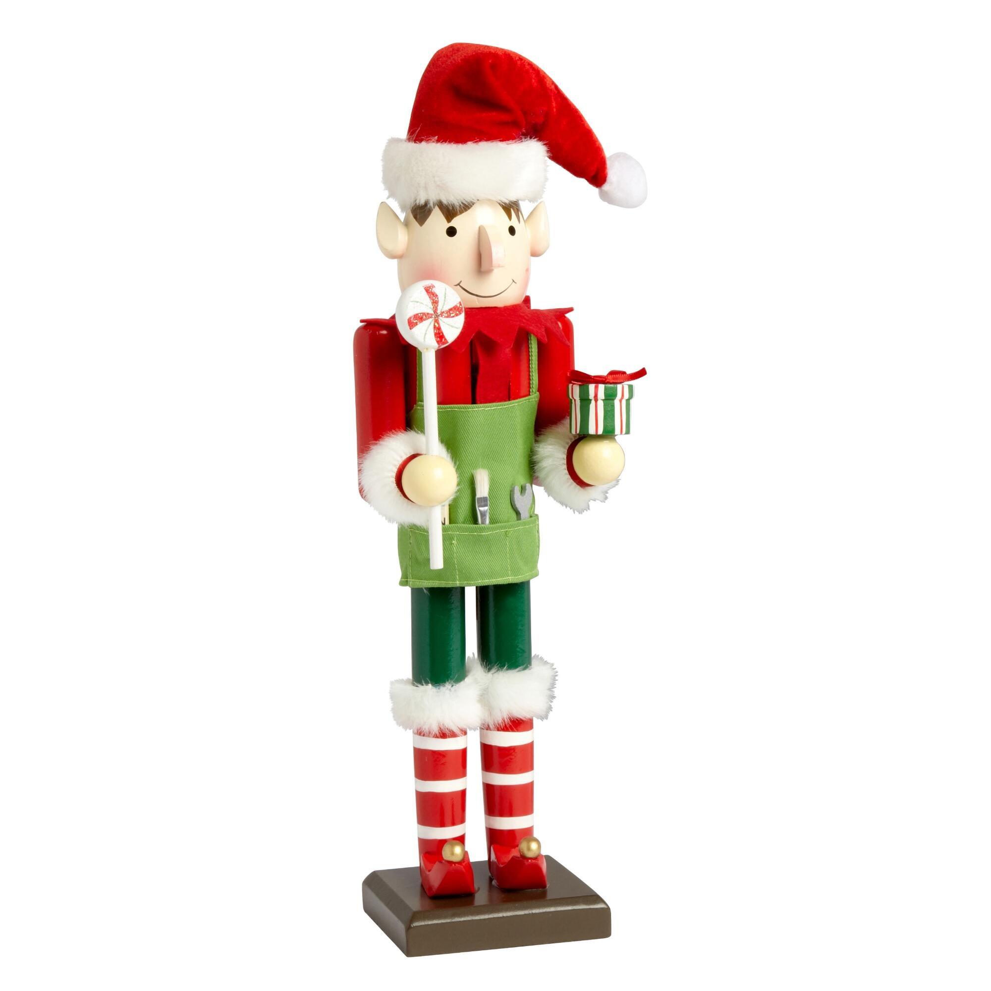 Nantucket Home Wooden Christmas Nutcracker Decor, 15-Inch (Boy Handyman Elf)