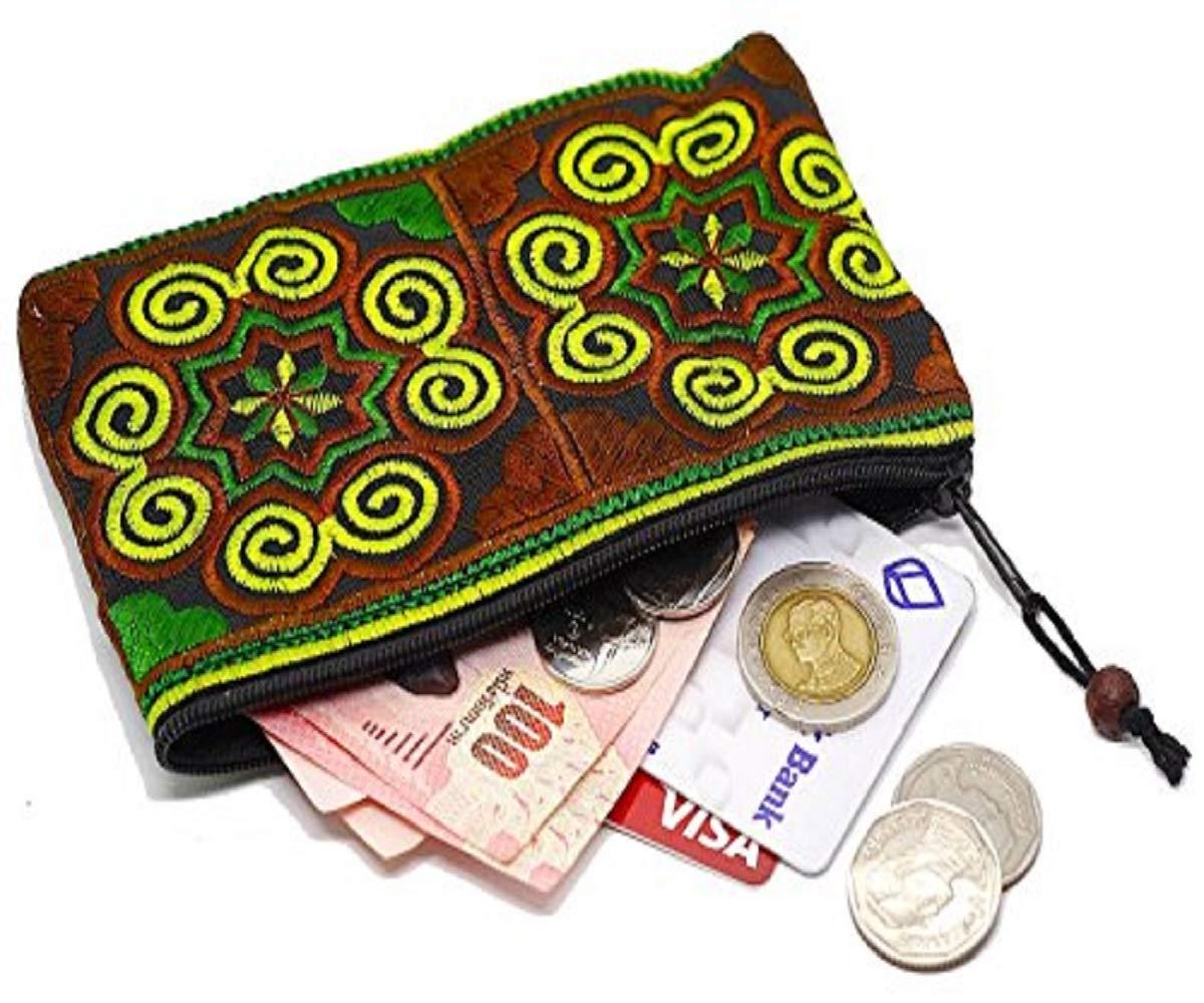 Sabai Jai Coin Purse Handmade Embroidered Bag Ethnic Boho Zipper Change Pouch,Small,Green/Brown