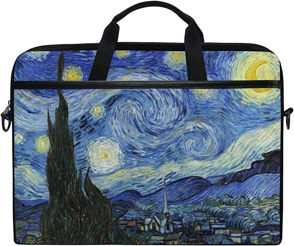 D.T.G Laptop Case Funda para Computadora Portátil,Van Gogh Starry Night Briefcase Messenger Bolsa para Computadora Portátil con Asa para El Hombro,14-14.5 Pulgadas