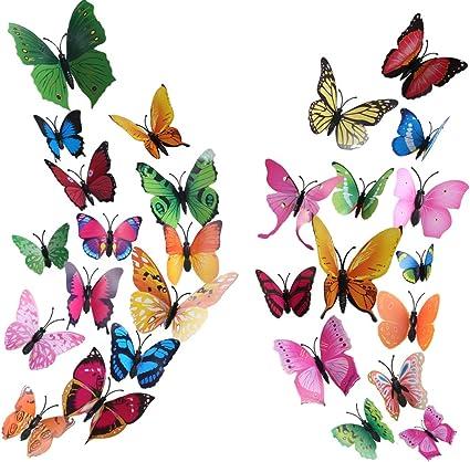 Motivo: Farfalla Frigorifero Colore: Arcobaleno Set 4 Adesivi per Auto Moto