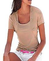 ZANZEA Femme Eté Sexy Col U Chemise Slim Tops Blouse Manches Courtes T-Shirt