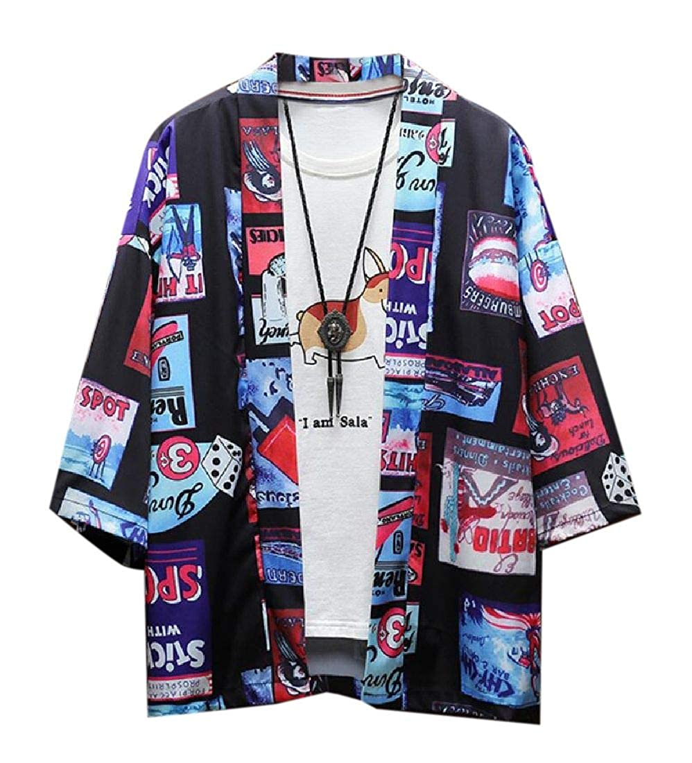 Rrive Men Open Front Kimono 3//4 Sleeve Loose-fit Cardigan Coat