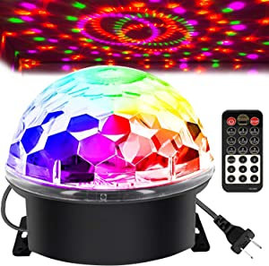Memzuoix Disco Ball Party Lights Strobe Lamp with 6 Colors Sound Activated, Big-Size Magic Stage DJ Lights with Remote Control, Halloween Decorations Bar Wedding Home Show