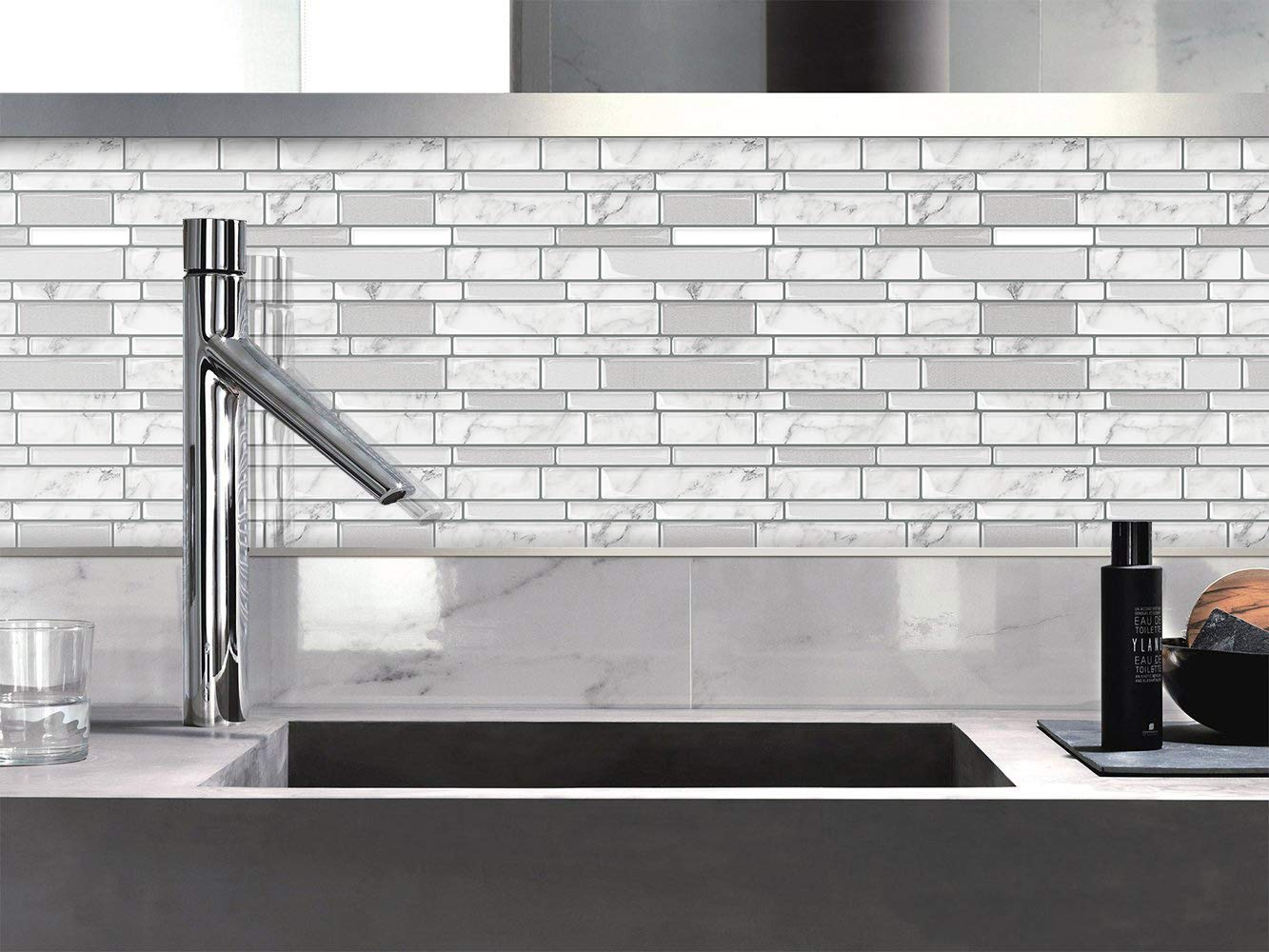 Tic Tac Tiles - Premium Anti Mold Peel and Stick Wall Tile Backsplash in Polito Design (Blanco, 6) by Tic Tac Tiles (Image #4)