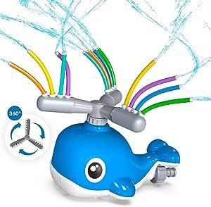 BEAURE Water Sprinkler for Kids - Summer Fun Kids Sprinkler with Wiggle Tubes, 360 Degree Rotating Whale Sprinkler, Outdoor Water Toys Backyard Sprinkler for Boys Girls, Attaches to Garden Hose