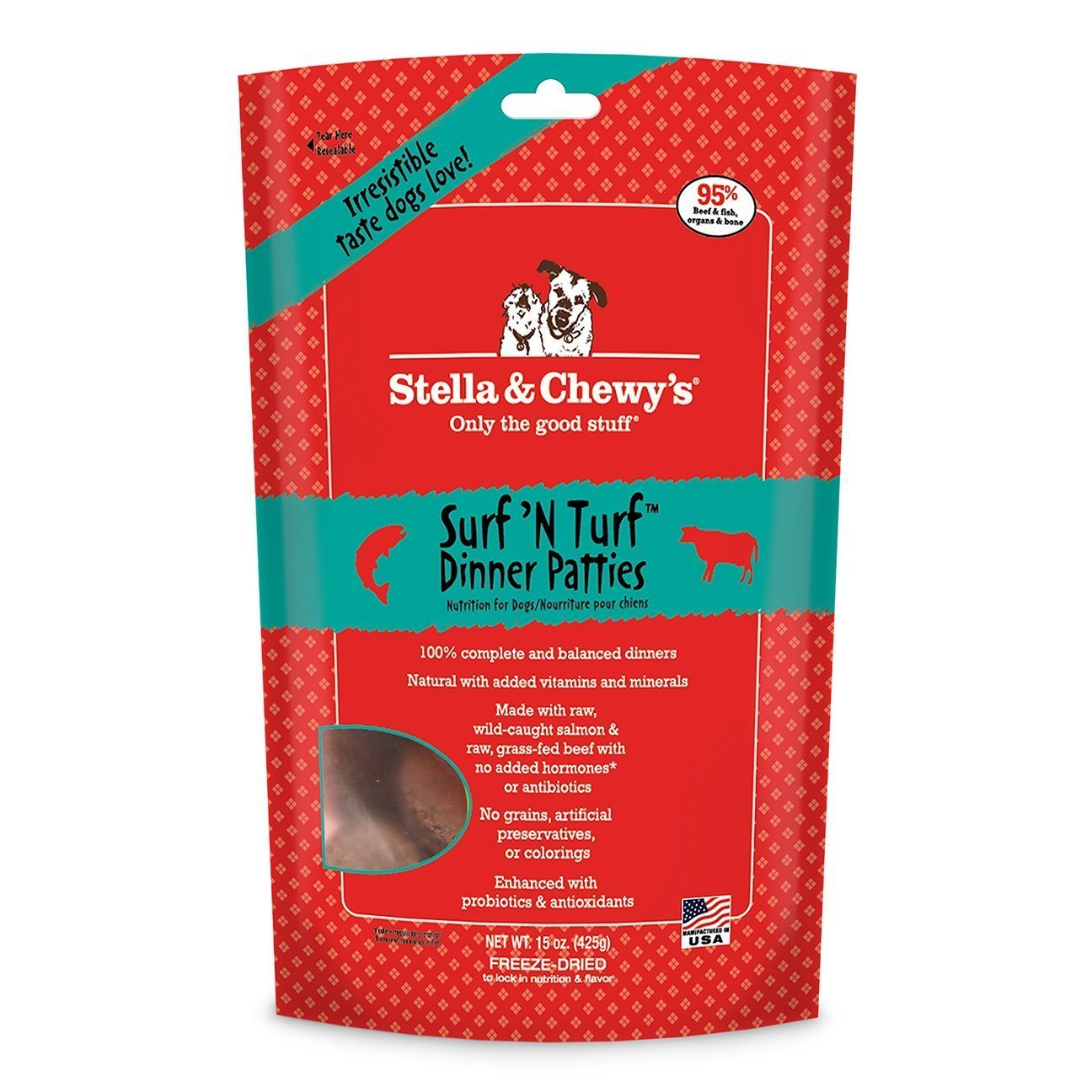 Stella & Chewy's Freeze Dried Surf & Turf (Beef and Salmon) Dinner for Dogs, ...