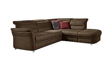 CAVADORE Eck Sofa Bontlei/Schlaf Couch Mit Kopfteilfunktion Und  Federkern/Inkl.