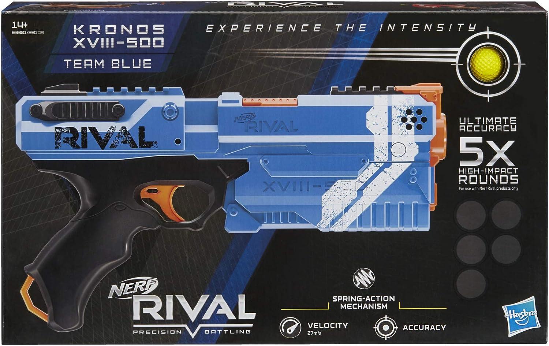 NERF - Kronos Azul XVIII-500 y Bolas de Espuma Rival Oficiales, E3381FC4,
