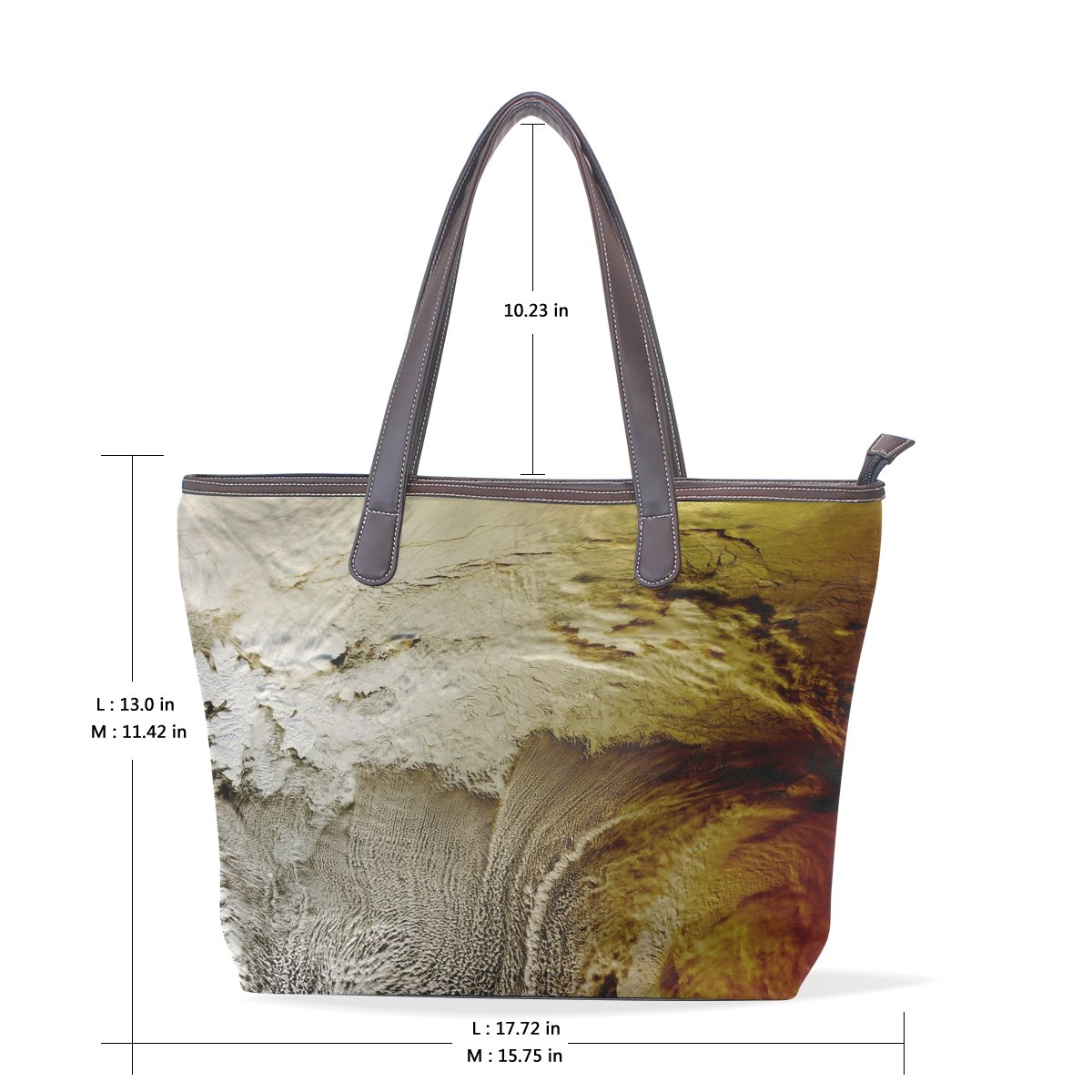 Mr.Weng Household Abstract The Wave Figure Lady Handbag Tote Bag Zipper Shoulder Bag