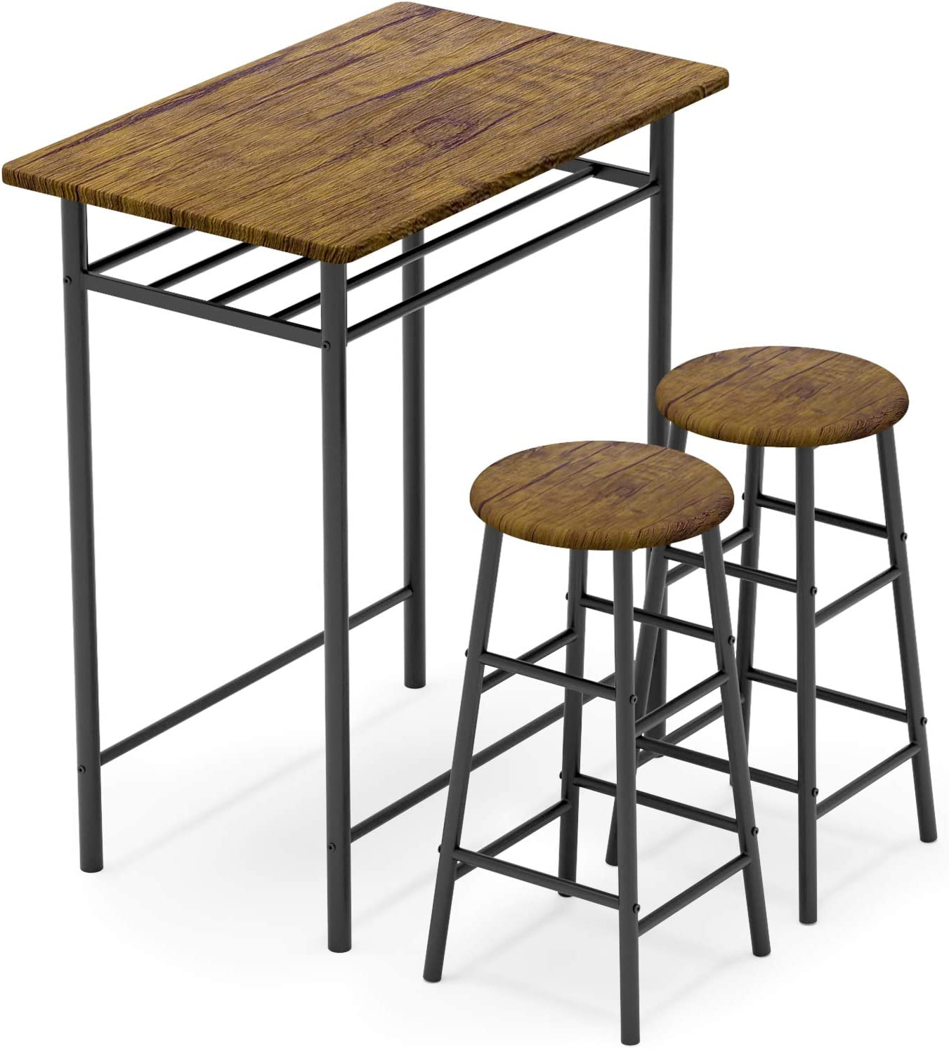 WeeHom Bar Table with 2 Bar Stools, Pub Dining Height Table Set, Kitchen Counter with Bar Chairs,Bistro Table Sets for Kitchen Living Room, Built in Storage Layer, Easy Assemble