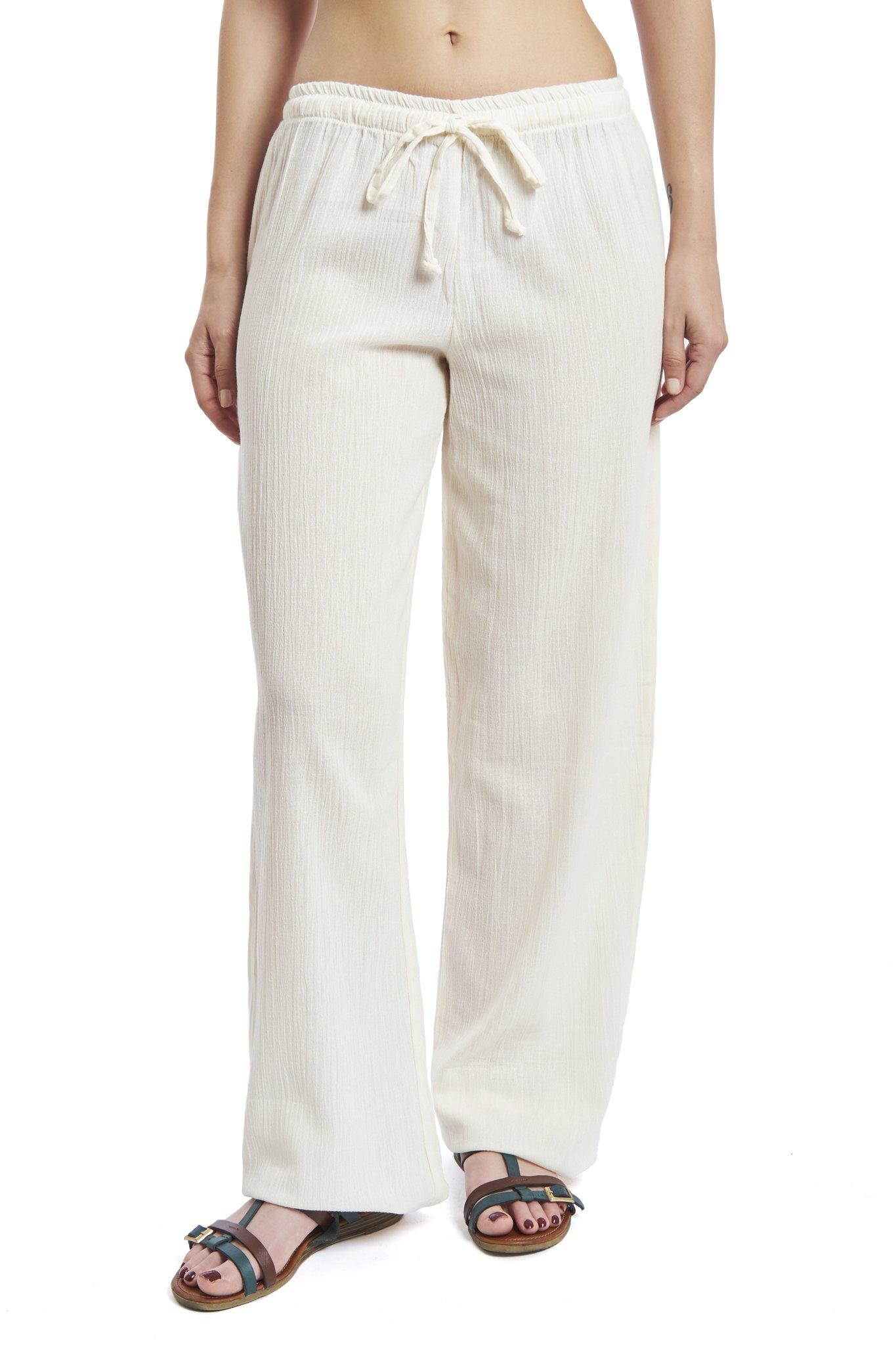 J & Ce Women's Gauze Cotton Beach and PJ Pants (Cream, Small)